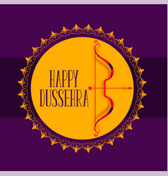 Happy dussehra festival card with bow and arrow vector