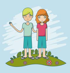 Hippie couple cartoon vector