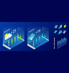 isometric set weather application design vector image