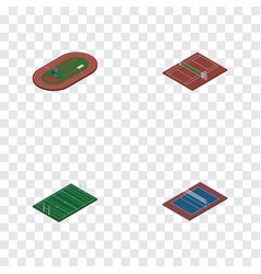 Isometric training set of tennis american vector