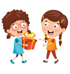 Kid giving gift vector