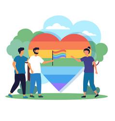 lgbtq pride activist meet celebrate month festival vector image