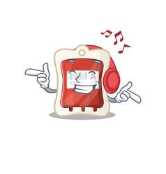 Listening music blood bag mascot cartoon vector