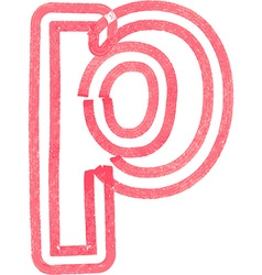 lowercase letter p drawing with Red Marker vector image