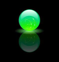 magic glass green ball on black background vector image
