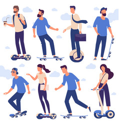 men and women with hoverboards and skates vector image