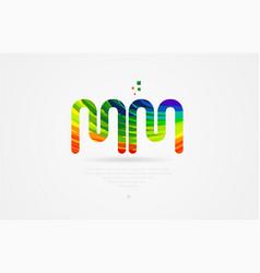 Mm m m rainbow colored alphabet letter logo vector