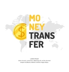 Modern money transfer poster and logo pointer vector image