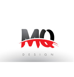 Mq m q brush logo letters with red and black vector
