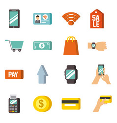 Nfc technology icons concept payment mobile online vector