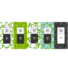 Organic tea frame labels vector