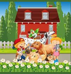 Outdoor house scene with many children playing vector
