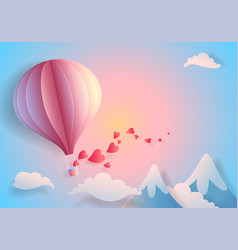 paper art heart balloon flying vector image