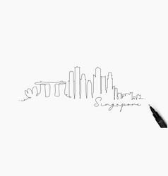 Pen line silhouette singapore vector
