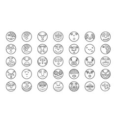 people face cartoon circle icones vector image