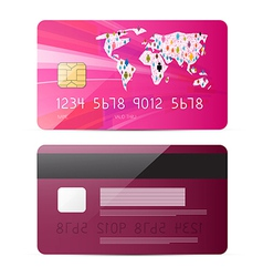 Pink Credit Card Isolated on White Backgroun vector image