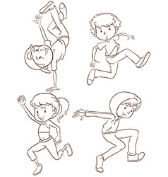 Plain sketches of the hiphop dancers vector