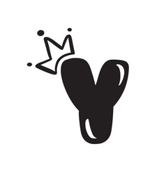 Plump vintage cute letter y with crown vector
