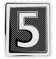 Polka Dot Font NUMBER 5 vector image