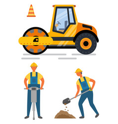 pressure auto drill and shovel roadwork vector image