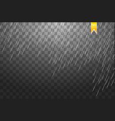rain transparent template background falling vector image