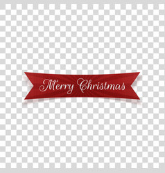 realistic greeting merry christmas bent red label vector image