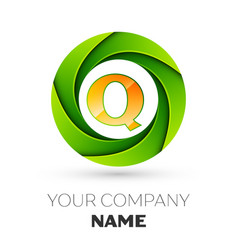 Realistic letter q logo in the colorful circle vector