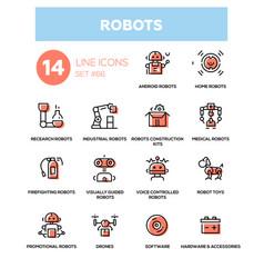 Robots - line design icons set vector