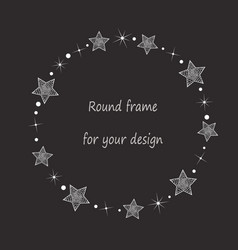 Round frame with white hand drawn abstract stars vector