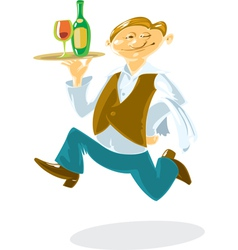 Running waiter vector image