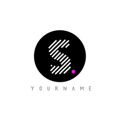 s letter logo design with white lines and black vector image
