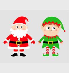 santa claus elf set happy new year merry vector image
