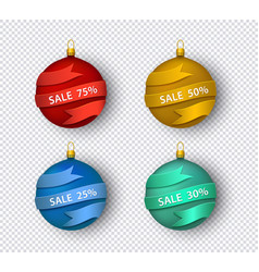 set christmas tree ball vector image