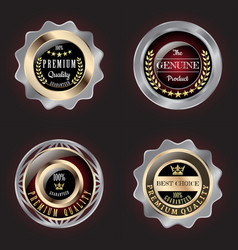 set of golden-silver premium quality badge vector image
