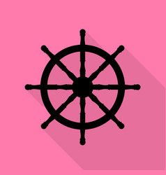 Ship wheel sign black icon with flat style shadow vector