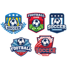 Soccer badge design collection vector