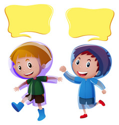 Speech bubble templates with boys in raincoat vector