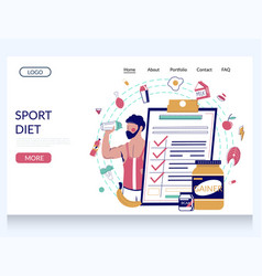 sport diet website landing page design vector image