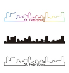St Petersburg skyline linear style with rainbow vector