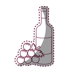 sticker line bottle of wine with bunch of grapes vector image vector image