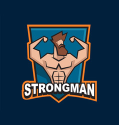 Strongman logo template for gym sport vector