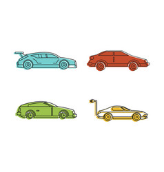super car icon set color outline style vector image