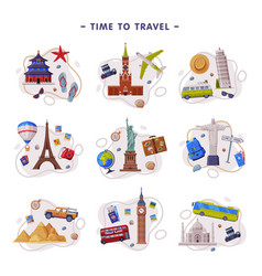 travel and tourism attribute with city landmark vector image