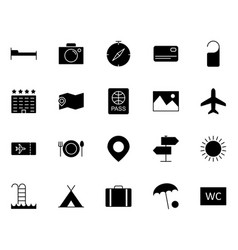 travel icons set simple minimal 96x96 pictogram vector image