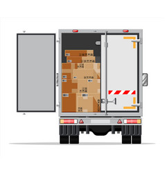 Truck trailer loaded with cardboard boxes vector