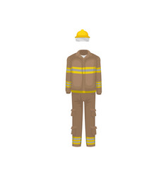 uniform of fireman yellow helmet brown jacket vector image