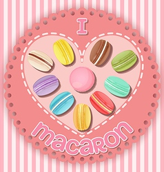 Various macarons on heart shape vector