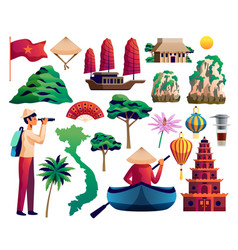vietnam isolated set vector image