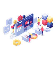 Web development isometric vector