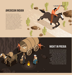 wild west isometric banners vector image